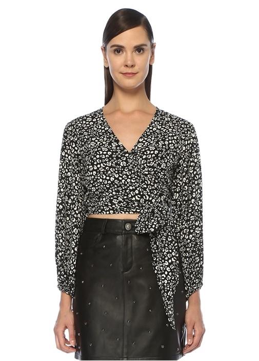 Siyah Leopar Desenli Önü Bağcıklı Crop Krep Bluz