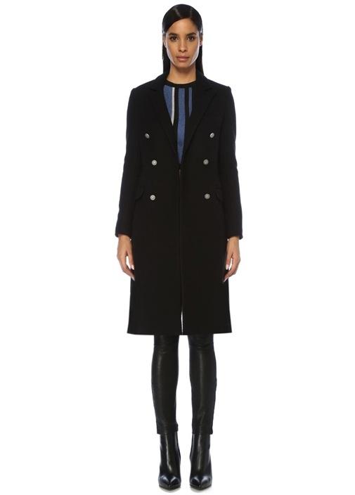Siyah Kırlangıç Yaka Dokulu Kruvaze Yün Palto
