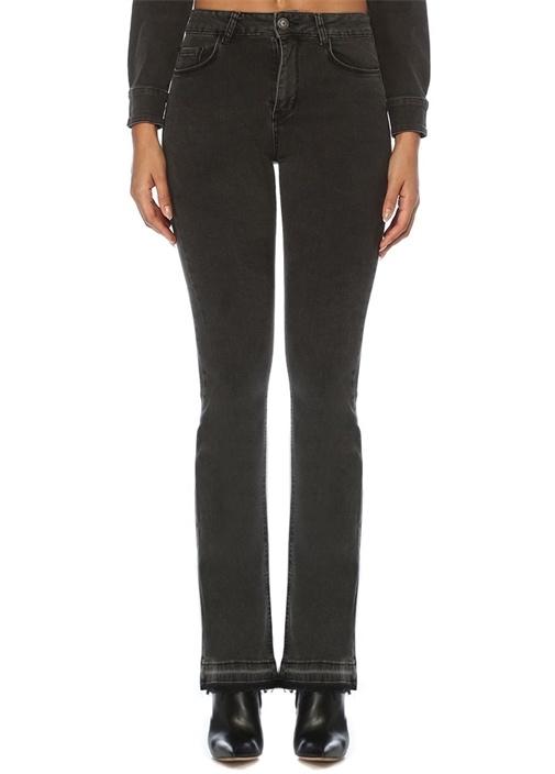 Siyah Normal Bel Bol Paça Jean Pantolon