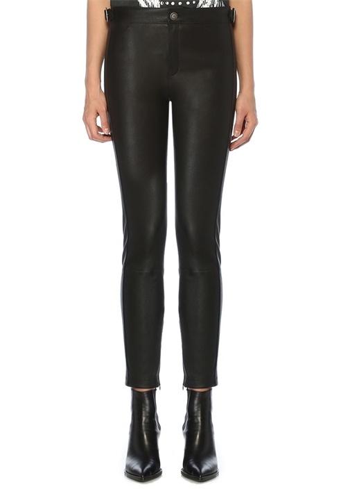 Siyah Beli Metal Tokalı Dar Paça Deri Pantolon