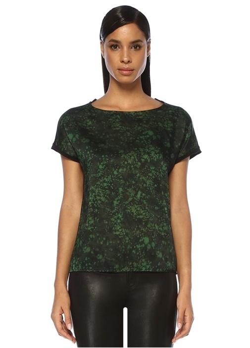 Siyah Yeşil Önü Desenli T-shirt