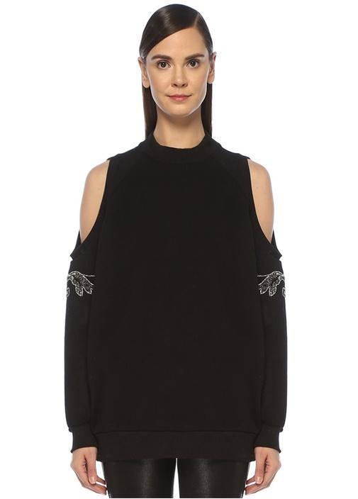 Siyah Omuz Dekolteli Taşlı Patchli Sweatshirt