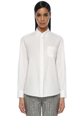 Kadın Beyaz Boyfriend Yıkamalı Oxford Gömlek XS