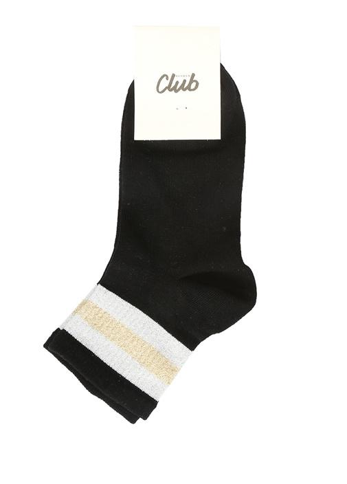 Siyah Simli Rib Dokulu Kadın Çorap