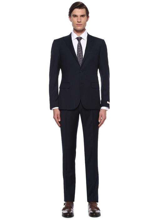 Drop 8 Slim Fit Lacivert Çizgili Yün Takım Elbise
