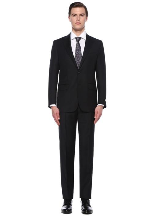 Drop 7 Siyah Kelebek Yaka Çizgili Yün Takım Elbise