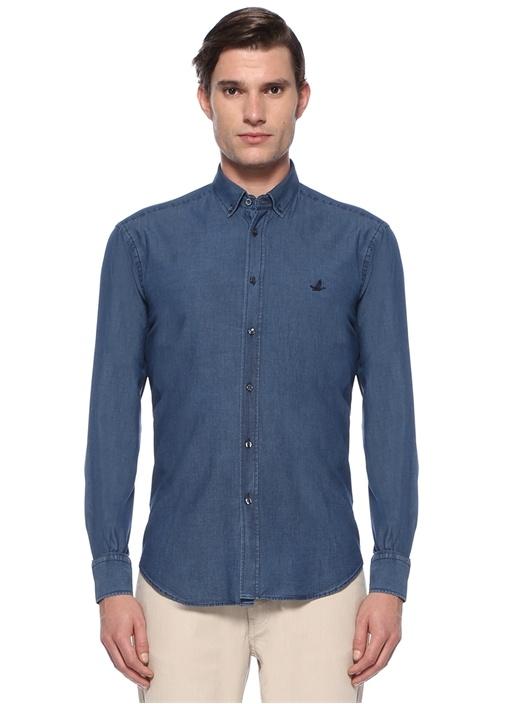 Comfort Fit Mavi Düğmeli Yaka Denim Gömlek