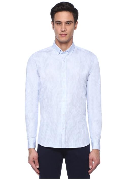 Slim Fit Çizgili Düğmeli Yaka Gömlek