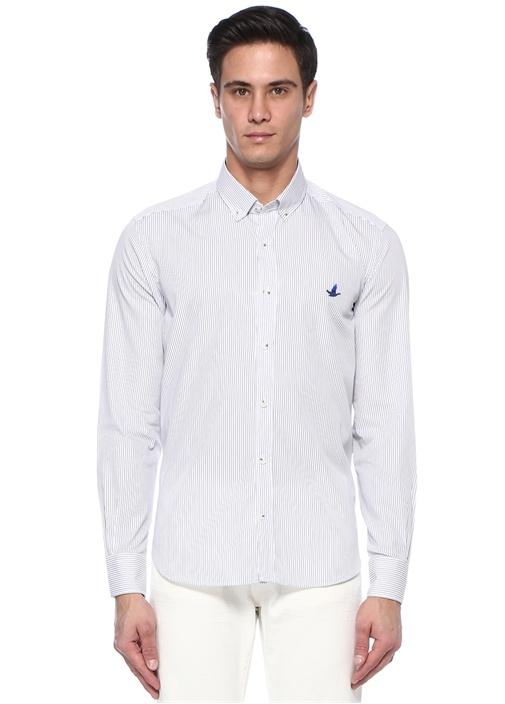 Comfort Fit Mavi Düğmeli Yaka Çizgili Gömlek