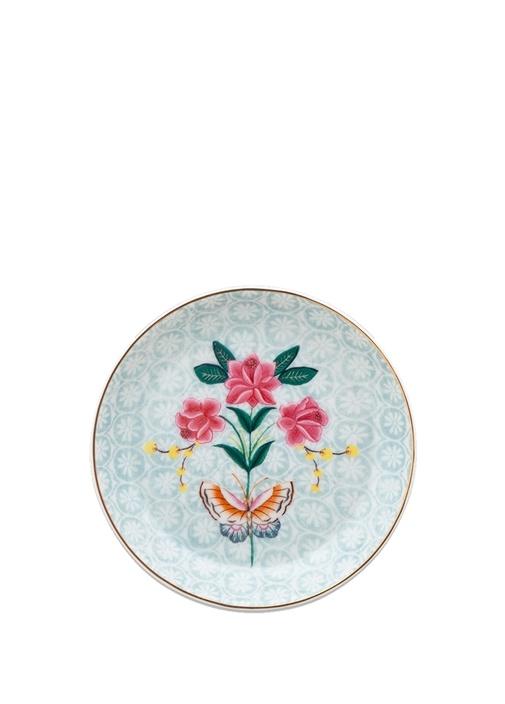 Blushing Birds Çiçekli Porselen Çay Tabağı