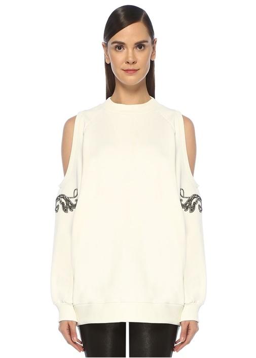 Beyaz Omuz Dekolteli Taşlı Patchli Sweatshirt