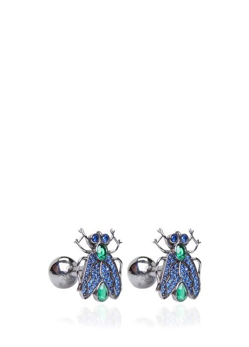 Silver Lacivert Böcek Formlu Kol Düğmesi