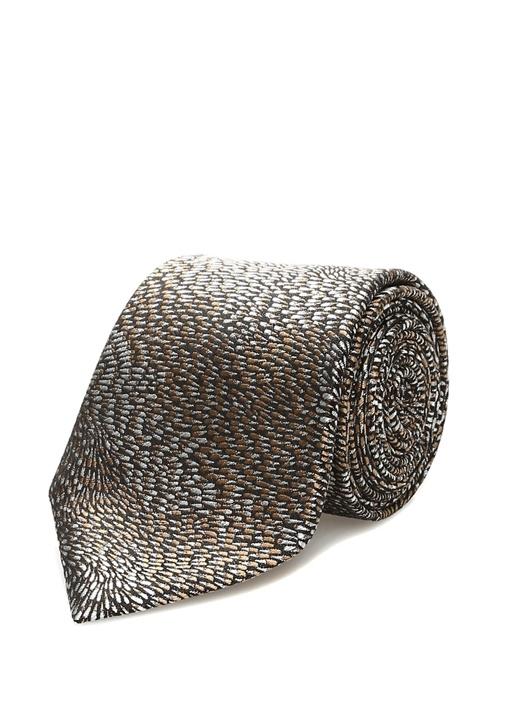 Kahverengi Desenli İpek Kravat