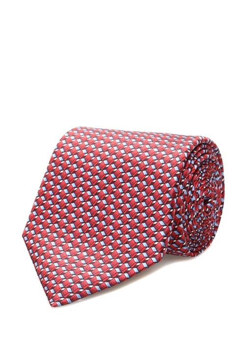 Kırmızı Mikro Geometrik Desenli İpek Kravat
