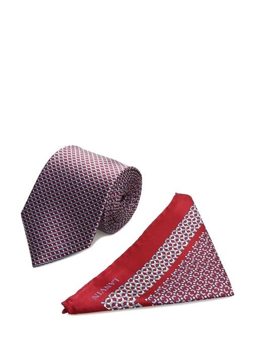 Kırmızı Desenli Poşet Mendil Detaylı İpek Kravat
