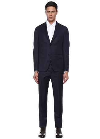 0e805b4a1dda3 Drop 7 Lacivert Çizgili Yün Takım Elbise