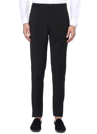 Drop 8 Siyah Normal Bel Yün Smokin Pantolonu