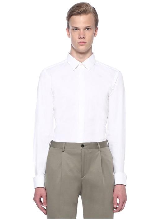 Beyaz Desenli Smokin Gömleği
