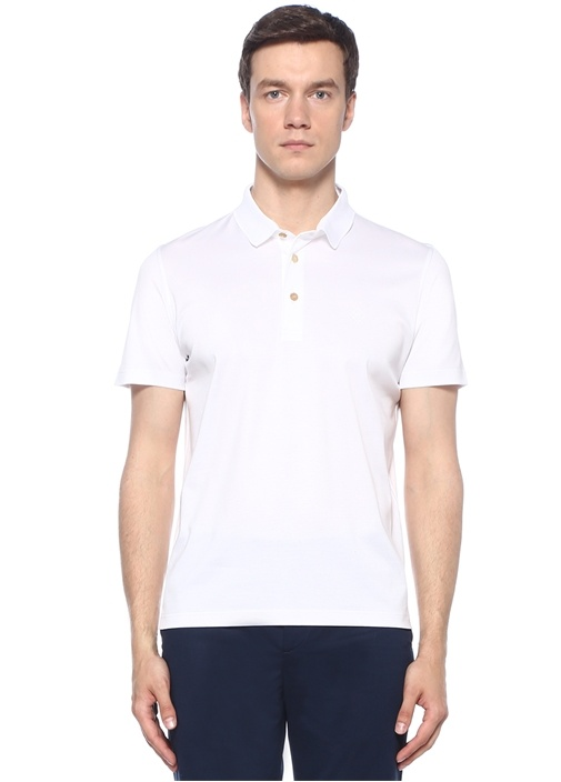 Beyaz Polo Yaka Basic T-shirt