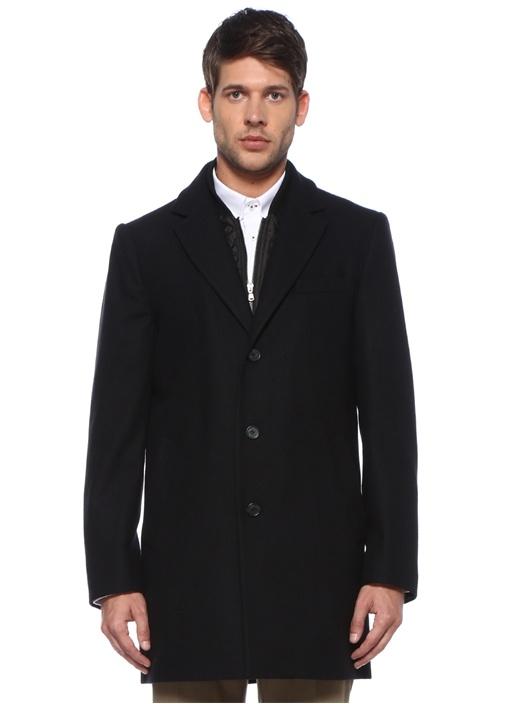 Lacivert İç Yaka Detaylı Yün Palto