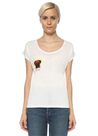 Turn & Bake Kadın Andy Beyaz Bisiklet Yaka Baskılı T-shirt S EU