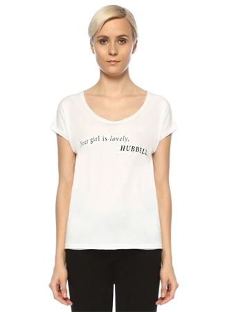 Turn & Bake Kadın Hubbell Beyaz Bisiklet Yaka Baskılı T-shirt S EU