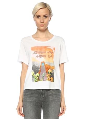 Turn & Bake Kadın Among Us Beyaz Bisiklet Yaka Baskılı T-shirt S EU