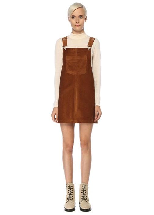 Taba Kare Yaka Fitilli Mini Kadife Elbise