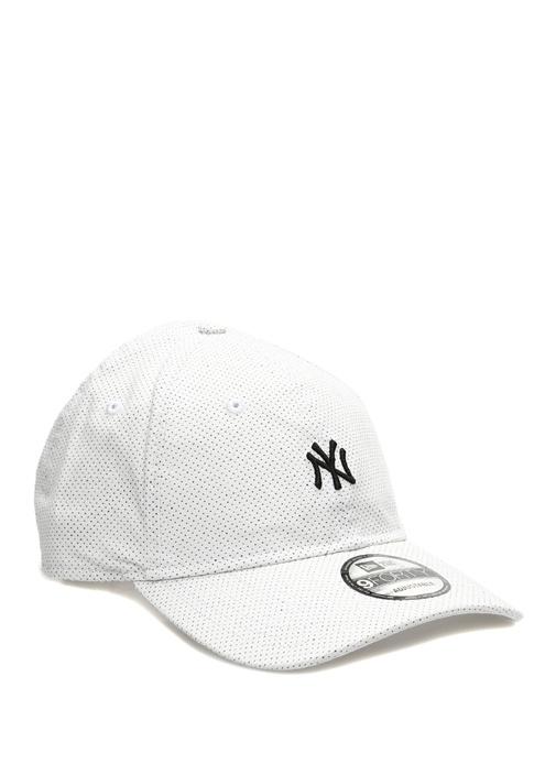 New York Nakışlı Beyaz Mikro Desenli Erkek Şapka