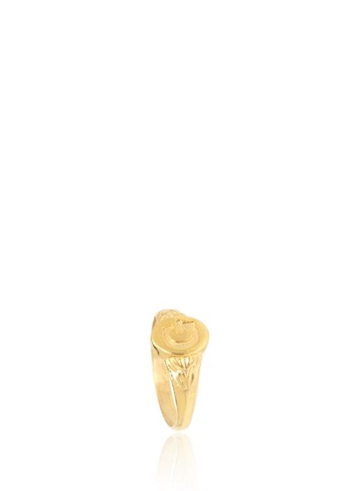 Gold G Harf Detaylı Kadın Gümüş Yüzük