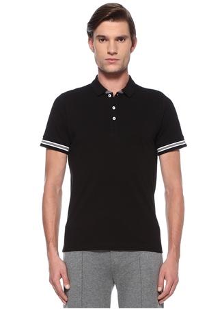 Beymen Collection Erkek Siyah Polo Yaka Kolları Kontrast Şeritli T-shirt XL EU male