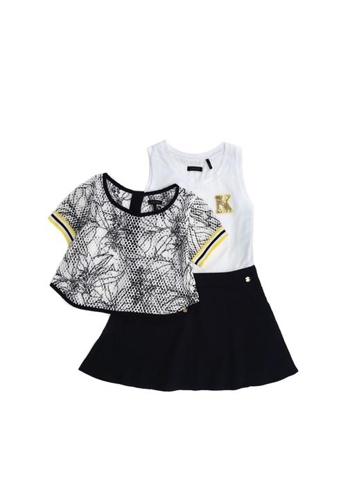 Lacivert Beyaz 2li Kız Çocuk Elbise