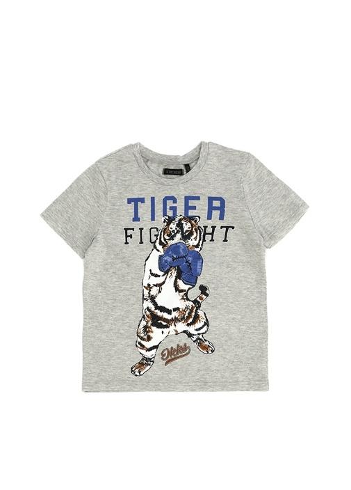 Gri Baskılı Erkek Çocuk T-shirt