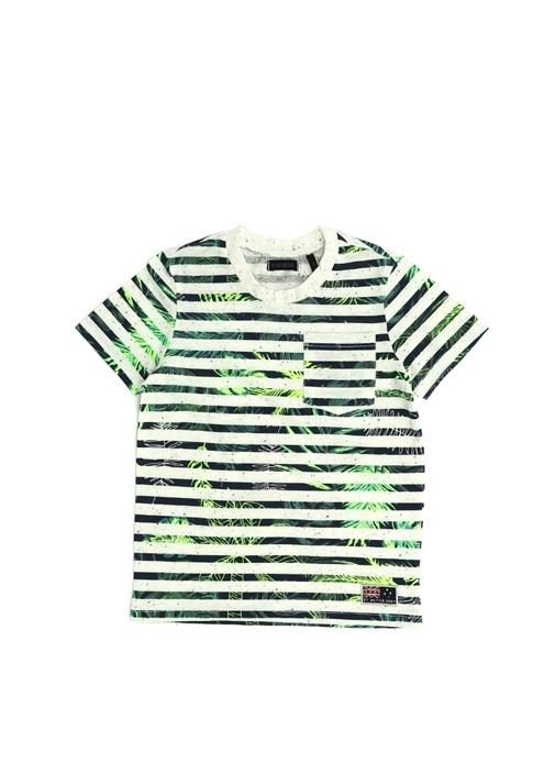 Beyaz Çizgili Tropik Desenli Erkek Çocuk T-shirt