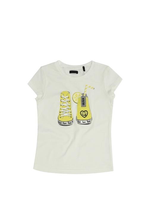 Beyaz Sarı Baskılı Kız Çocuk T-shirt