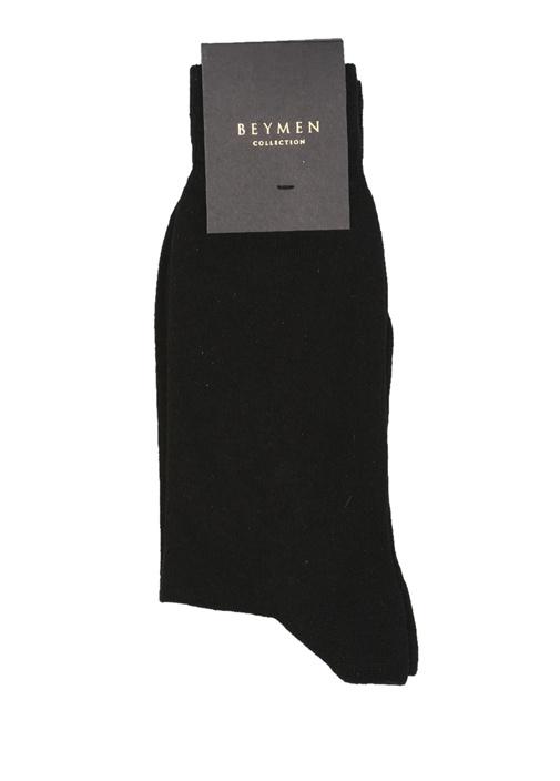 Siyah Çizgi Dokulu Logolu Erkek Çorap