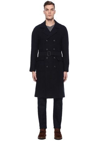 Beymen Collection Erkek Lacivert Kelebek Yaka Beli Kemerli Yün Palto 50 IT male