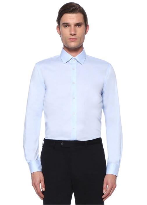Custom Fit Mavi Modern Yaka Gömlek