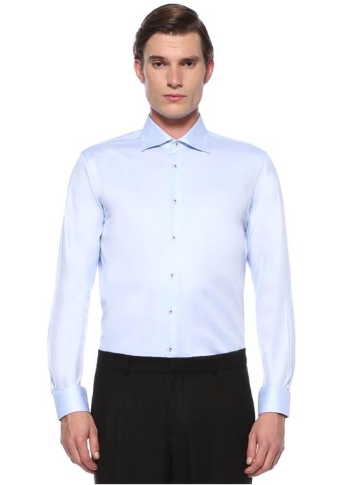 Custom Fit Mavi Klasik Yaka Desenli Gömlek