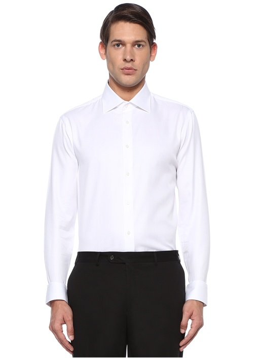 Custom Fit Beyaz Klasik Yaka Dokulu Gömlek