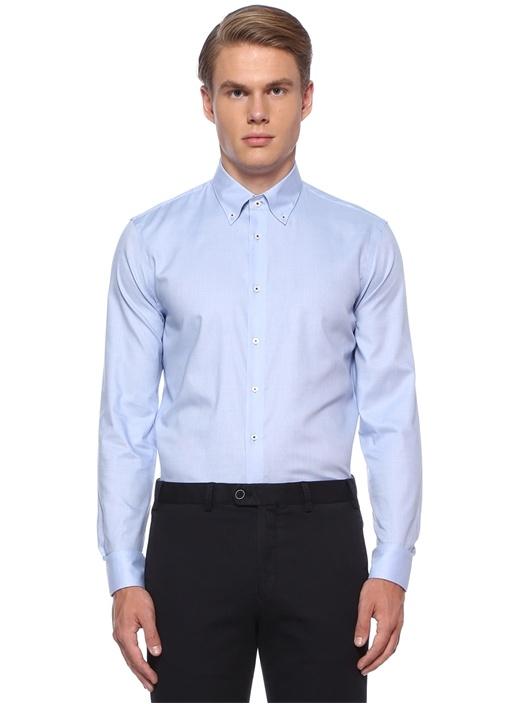 Custom Fit Mavi Dokulu Non Iron Özellikli Gömlek
