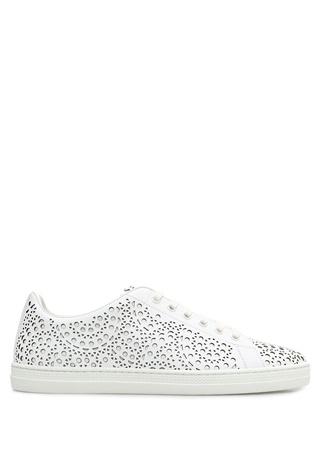 Alaia Kadın Beyaz Lazer Kesim Detaylı Deri Sneaker 40 EU
