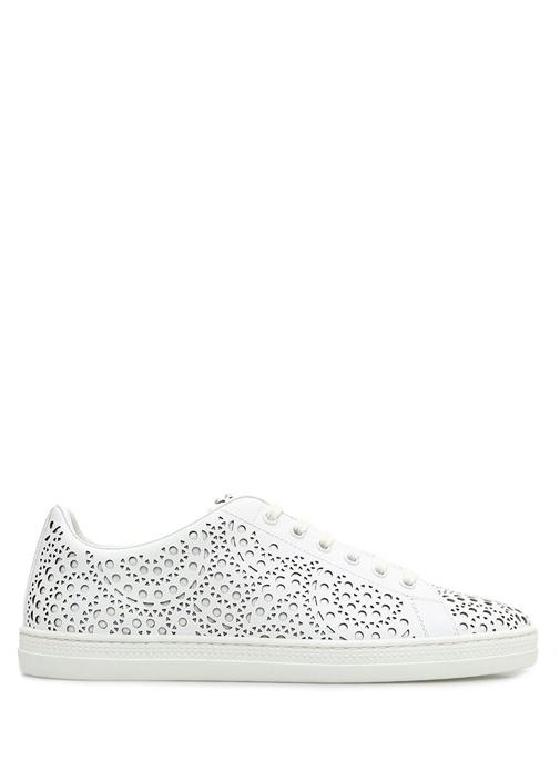 Beyaz Lazer Kesim Detaylı Kadın Deri Sneaker