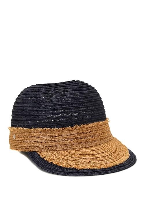 Lacivert Püsküllü Hasır Dokulu Kadın Şapka