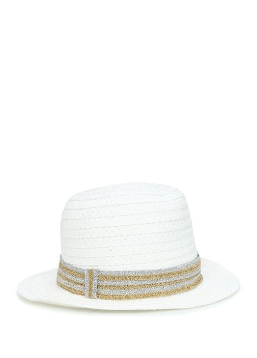 Beyaz Simli Kemerli Hasır Dokulu Kadın Şapka