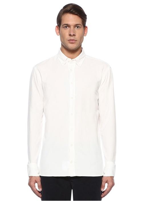 Custom Fit Krem Düğmeli Yaka Kadife Gömlek