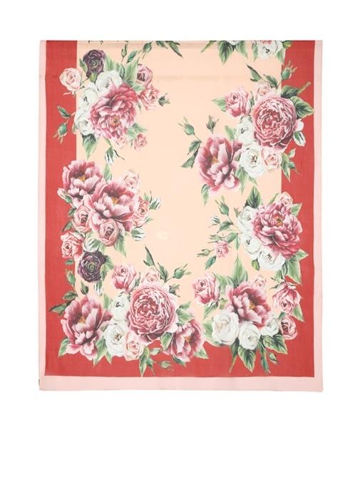 Kırmızı Pembe Çiçek Desenli Kadın İpek Şal