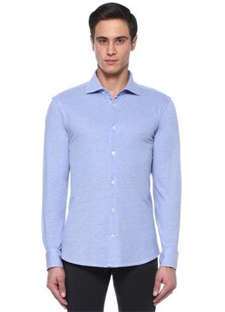 Suntory Mavi İngiliz Yaka Dokulu JerseyGömlek