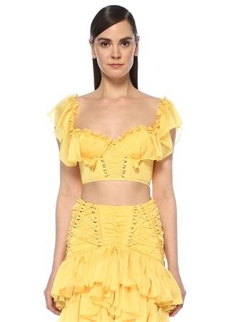 RAISA VANESSA Kadın Sarı Kalp Yaka Fırfırlı Crop Şifon Bluz 40 EU