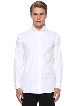 Comfort Fit Beyaz Düğmeli Yaka Gömlek